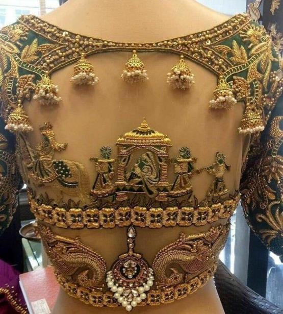 Intricate details on the back of a Wedding Dress in India