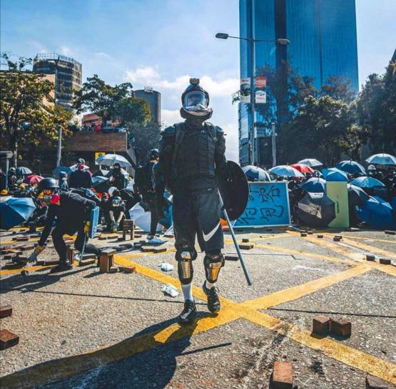 Protesters in HongKong home made armour.