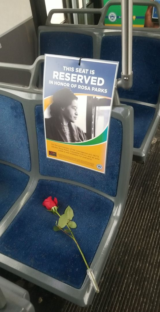 The Milwaukee County Transit System decided to reserve a seat on all busses in honor of Rosa Parks