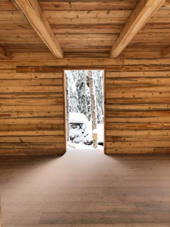 (OC) I am building my Rustic Alaskan cabin, this was the doorway this morning.