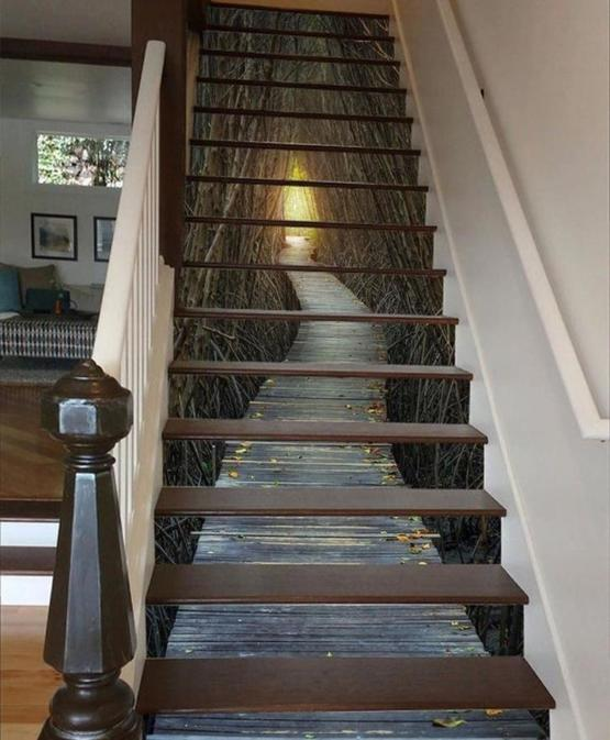 This unique stairway mural design