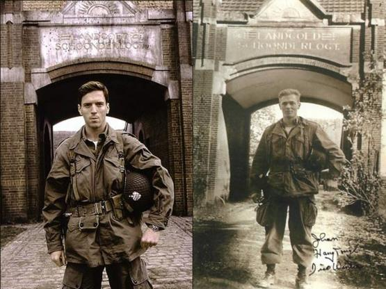 Damian Lewis in the HBO series Band of Brothers as Richard Winters compared to Richard Winters himself. Winters was a commander during WWII and an infantry paratrooper who took part in the invasion of Normandy and served until the end of the war