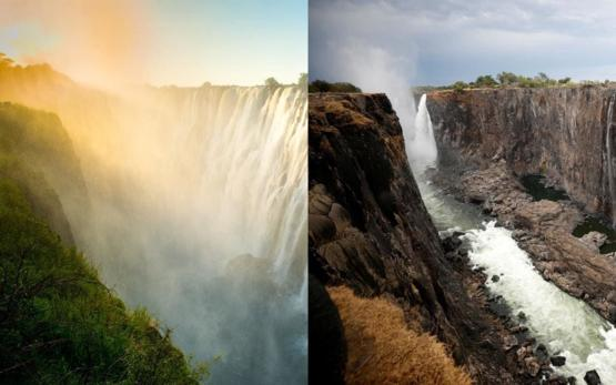 Climate change effects in my country. This is Zambia. We are going through one of our worst droughts ever and about 2 million people are in need of food. Pictured below is Victoria Falls, a wonder of the world which has now become this trickle. Remember t