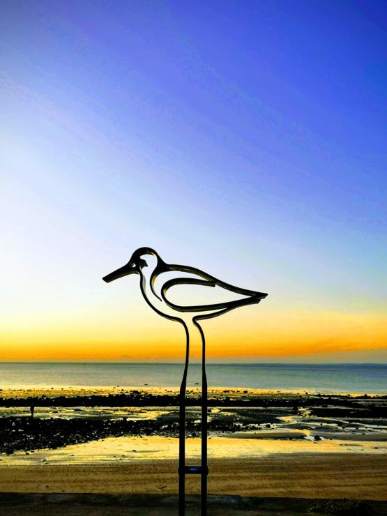 My wife took a photo of a bird sculpture in-front of the beach and the perspective made it look like a giant bird. Bonus points for its stand looking like a reflection in the water on the sand.