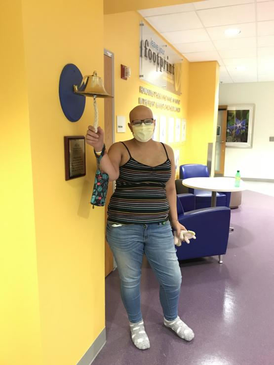 Ringing the bell after a 51-day hospital stay recovering from my so far successful bone marrow transplant.
