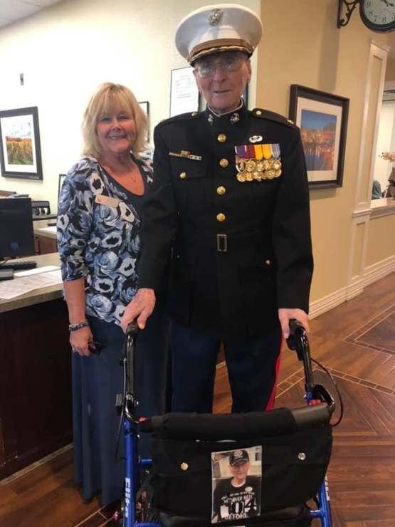 This is Major Bill White, the oldest living Marine at 104 years old