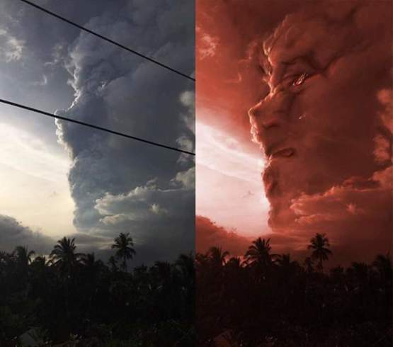 The smoke from the Taal volcano eruption looks like someone crying