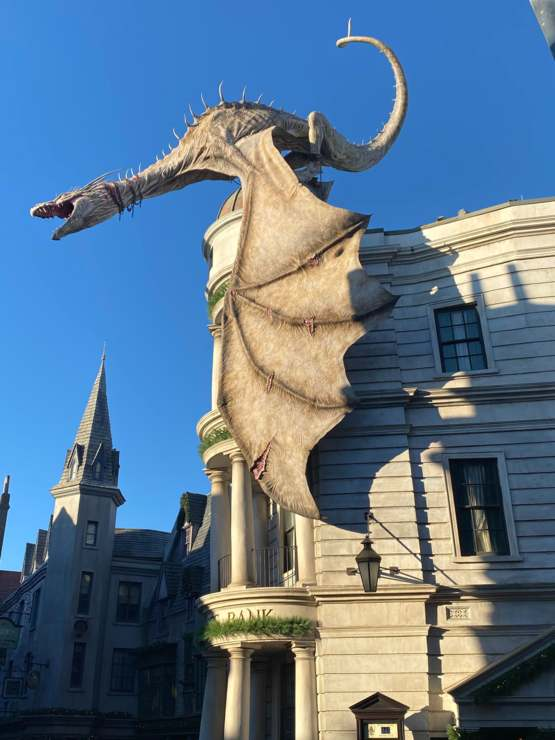 The Dragon atop Gringotts is amazing. And he breathes fire, so yeah. Epic.