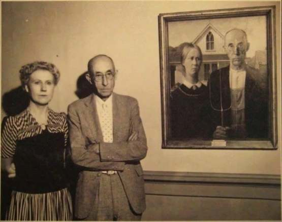 The original models for 'American Gothic' the artist Grant Wood's Nan and Dentist.