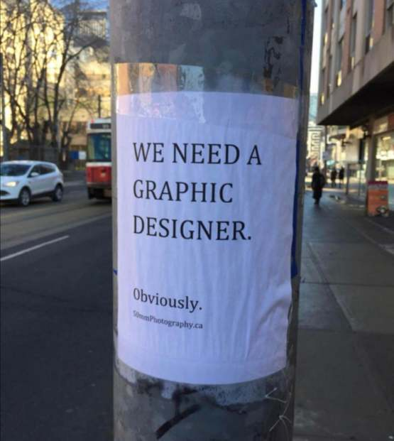 Job posting on the way to work if there's anybody looking for work