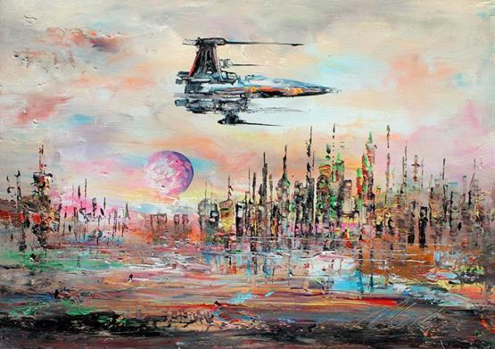 My landscape oil painting with X-Wing Fighter