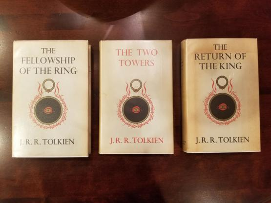 First edition copies of The Lord of the Rings books, a special gift from my mother.
