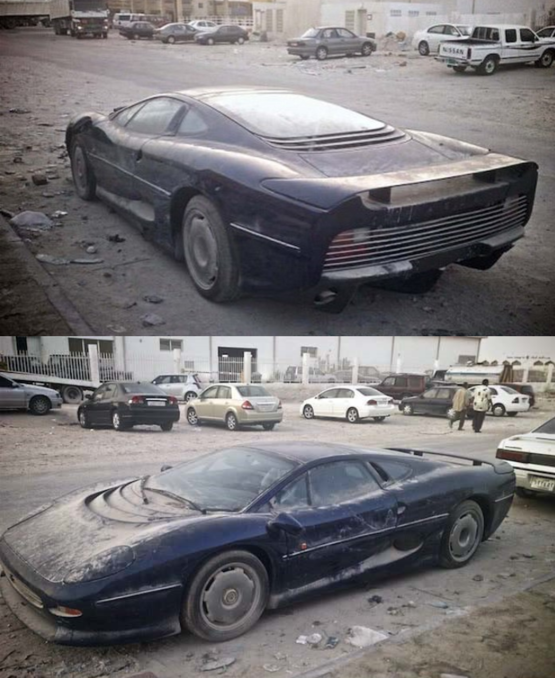Abandoned Jaguar XJ220 that was found in a Qatari desert; only 281 were made between 1992 and 1994