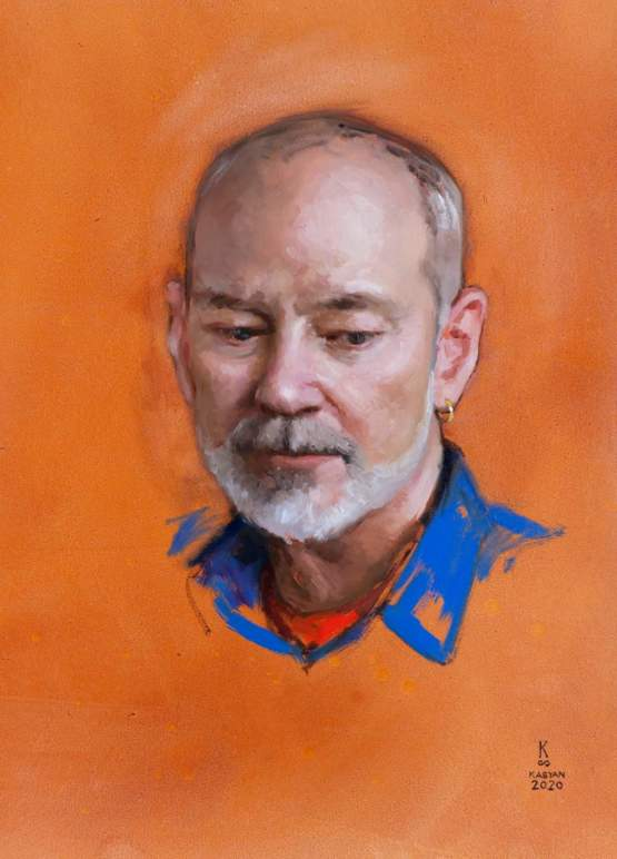 Last week I have been painting portraits if friends every day. This is one the portraits, it took a total of 5 hours. Ron, oil on paper.