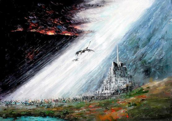 My oil painting of Minas Tirith from LOTR