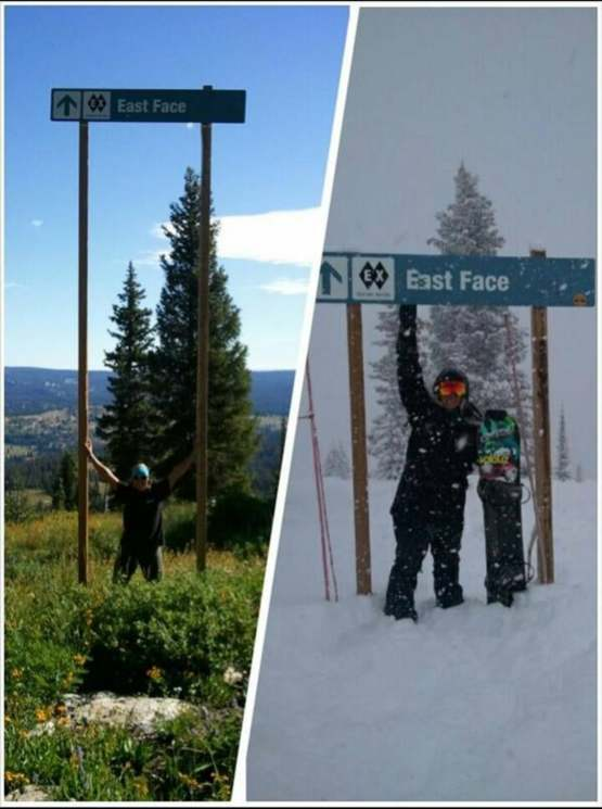 Ski trail sign in summer and winter