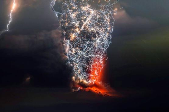 Lightning interacting with a volcanic plume