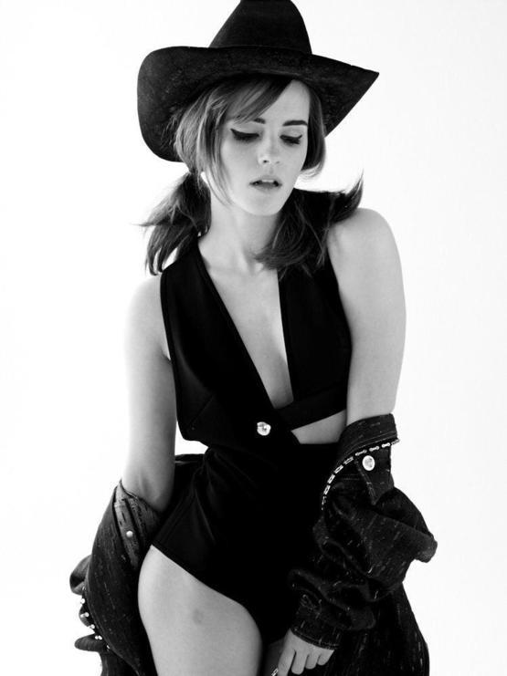 Pre-Shopped, Cowgirl Emma Watson photographed by Carter Smith for ELLE Magazine, 2014.