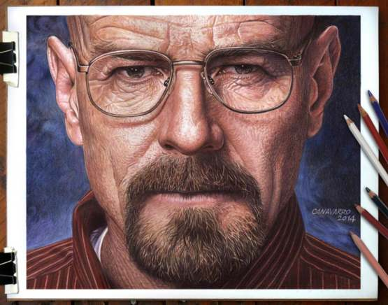 Walter White drawn with colored pencils.