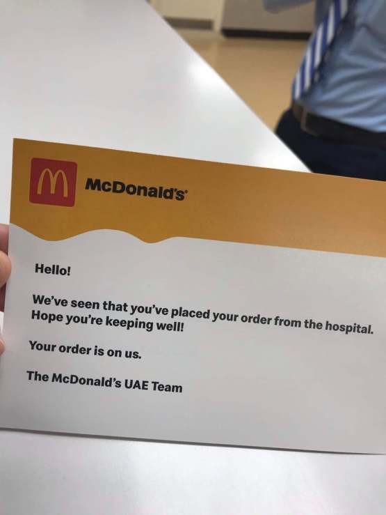 A nurse in AbuDhabi ordered food from a hospital and got this letter