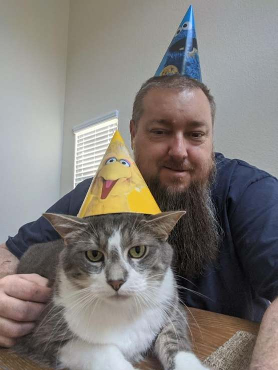 Cat not happy I'm isolated and made him celebrate my 50th.