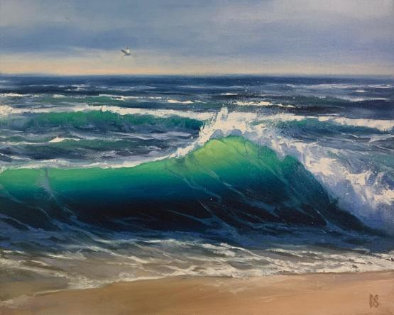 This is a wave painting I made using oils!