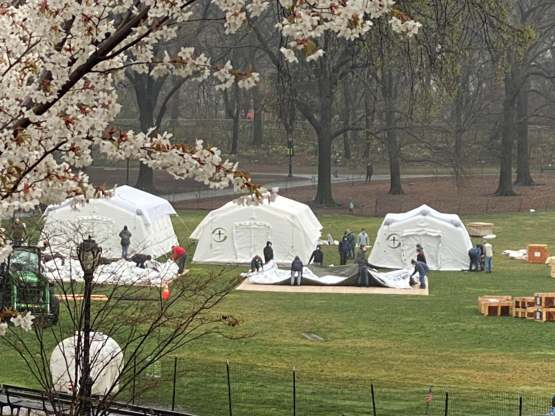 Medical tents being set up in Central Park (near 101 st and 5th Ave) around noon today.