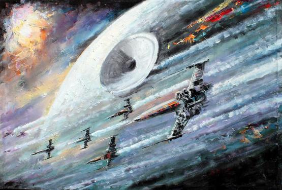 My oil painting of X-Wing Fighters & The Death Star