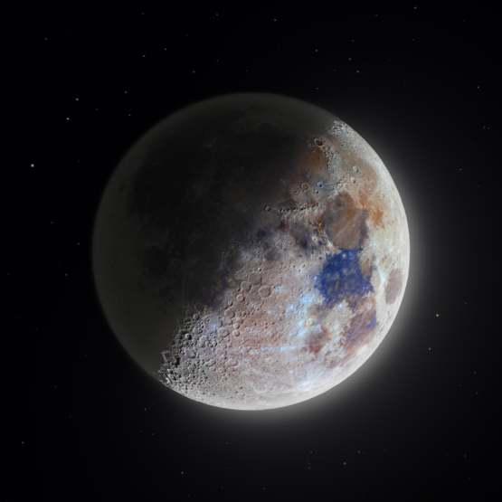 The most detailed color moon picture I've ever done. Zoom in to see the details around the craters.