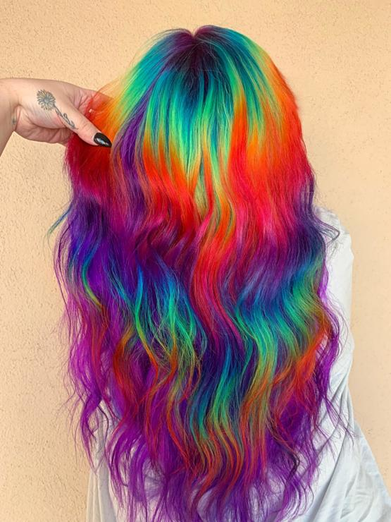 I did this Lisa Frank inspired hair on a client