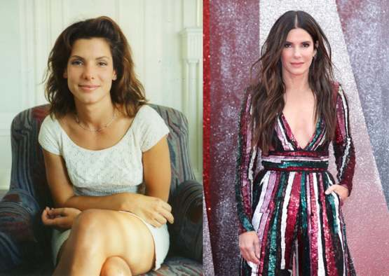 Sandra Bullock at 29 and 54 years ild
