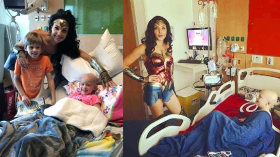 Gal Gadot visiting children's hospitals dressed as Wonder Woman.