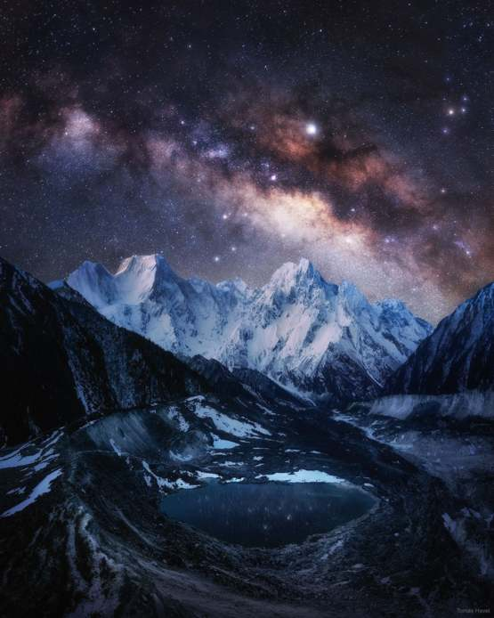 The Milky Way over Snow-Capped Himalayas