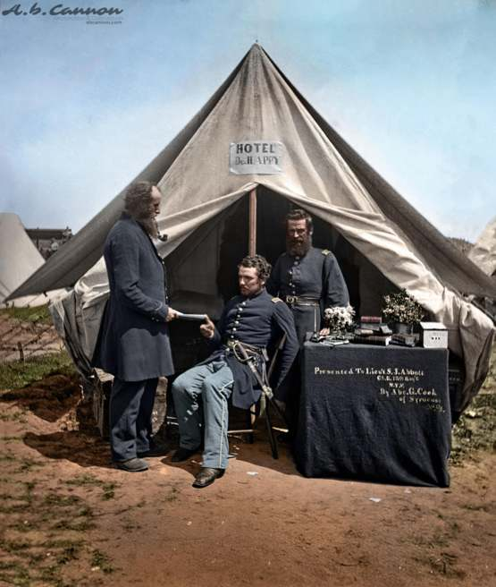 Nearly 160 year old photo of a American Civil War Camp, (1860's), Colorized by me
