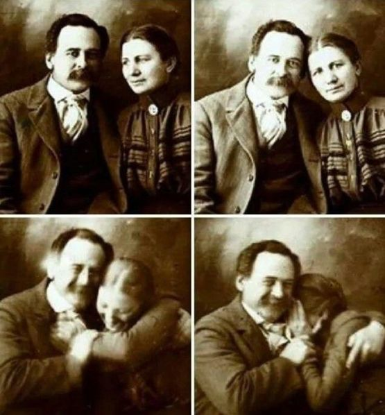 A Couple From The Victorian Era Trying Not To Laugh While Getting Their Picture Taken