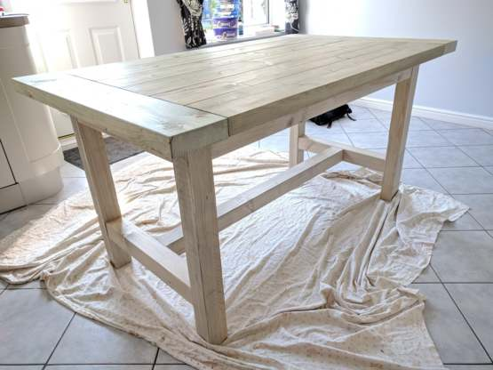 Couldn't afford a dining table when we moved so decided to build one instead.