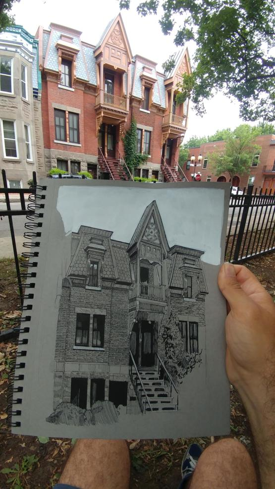 Urban sketching from life with pen and marker