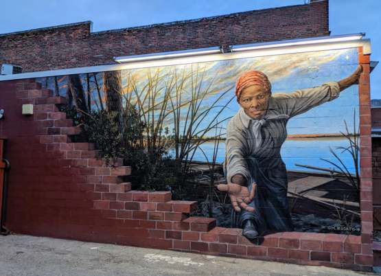 Mural of Harriet Tubman found on the side of a building in Cambridge Maryland