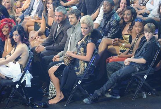 Celebs' reactions when Lady Gaga took the stage wearing her meat dress for the first time.