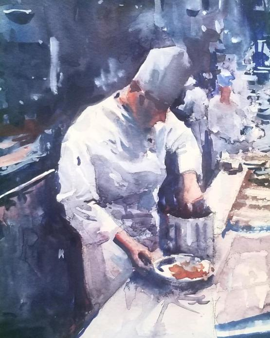 The Chef. Watercolor painting by me.