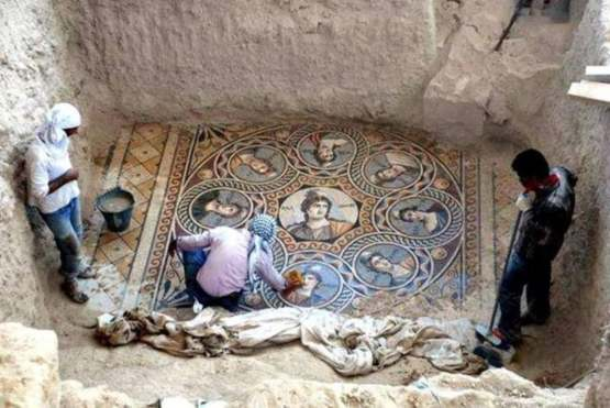 Stunning Ancient Greek mosaic that was uncovered in southern Turkey, near the border with Syria.