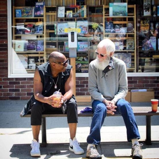 Dave Chappelle and David Letterman randomly sitting in Yellow Springs, OH.