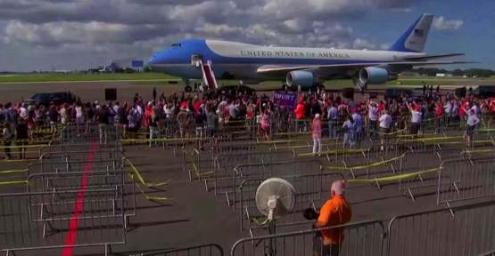 The tiny crowd that greeted Trump in Florida today. They were expecting up to 10,000...