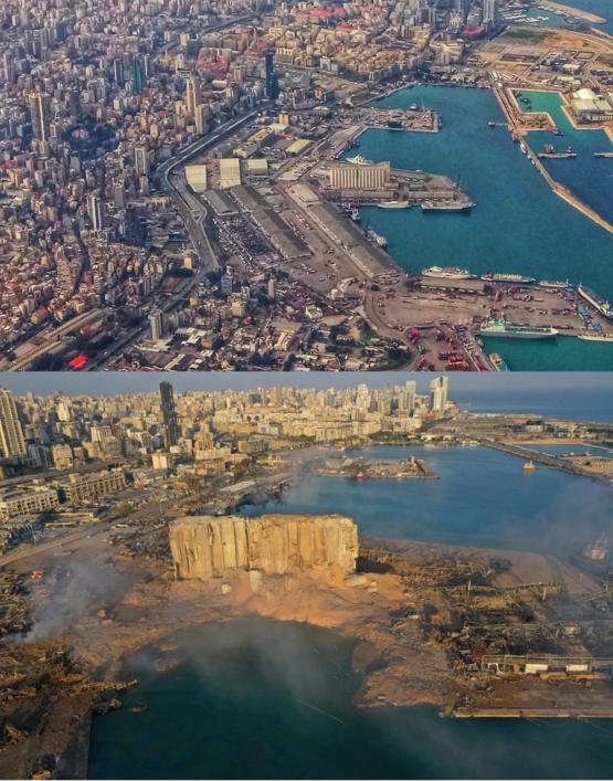 Before and after the explosion in Beirut.