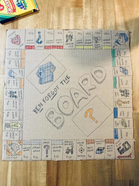 Ben brought Monopoly, but left the board at home. We improvised.