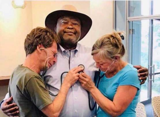 Parents listen to their son's transplanted heart beat in the chest of the recipient of his gift.