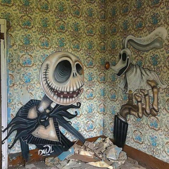 Graffiti in an abandoned house