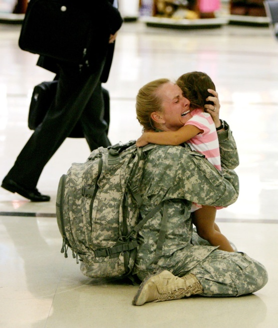Major Terri Gurrola and her daughter Gaby reunite after her seven month deployment.