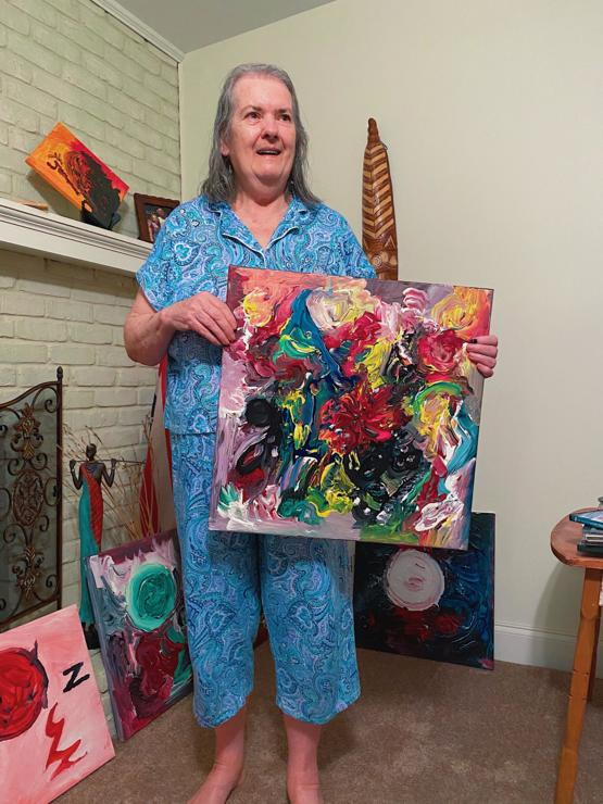 My gf's 75yo grandma copes with schizophrenia by producing a painting almost every day!