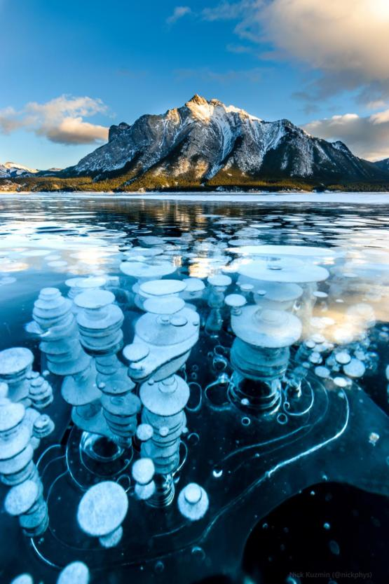 The spectacle of frozen methane bubbles